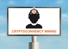 Bitcoin billboard. Cryptocurrency mining. Billboard with cryptocurrency. Raster Royalty Free Stock Photography