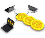 Cryptocurrency mining. Computer generated photo of a cryptocurrency mining.3d illustration Stock Images