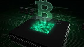 CPU on board with bitcoin hologram