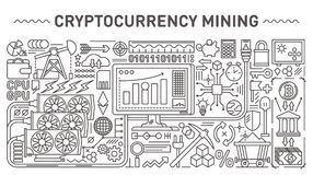 Cryptocurrency mining concept illustrations with line style vector icons and objects. Crypto currency mining symbols collection Stock Images