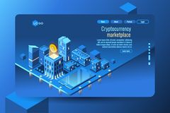 Cryptocurrency mining crypto currency concept. Cryptocurrency mining concept. Money or crypto currency decorative vector illustration Royalty Free Stock Photos