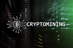 Free Cryptocurrency Mining Concept On Server Room Background Stock Images - 120703244