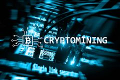 Cryptocurrency mining concept on server room background royalty free stock photography