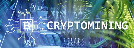 Cryptocurrency mining concept on server room background. Cryptocurrency mining concept on server room background stock photo