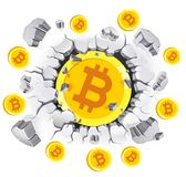 Cryptocurrency mining conceptual design. Bitcoin in old Plaster Royalty Free Stock Photography
