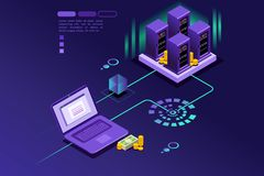Transaction records of internet customer. Cryptocurrency mining, currency transfer and pay isometric concept, this is an isometric blue violet web template Stock Photos