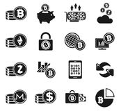 Cryptocurrency and mining icon set Stock Images