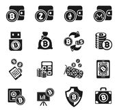 Cryptocurrency and mining icon set Stock Photo