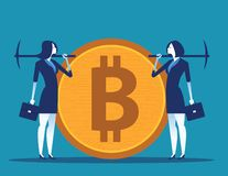 Cryptocurrency mining. People and digital currency. Concept business technology vector illustration stock illustration