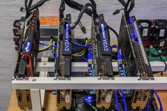 Cryptocurrency Mining Rig Stock Image
