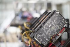 Cryptocurrency mining rig using graphic cards to mine for digital cryptocurrency such as bitcoin, ethereum and other altcoins Royalty Free Stock Photo