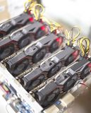Cryptocurrency mining rig using graphic cards to mine for digital cryptocurrency such as bitcoin, ethereum and other altcoins Stock Image