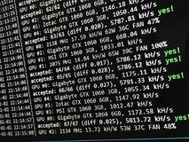 Cryptocurrency mining screen Royalty Free Stock Images