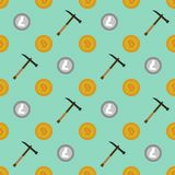 Cryptocurrency mining seamless pattern Stock Images
