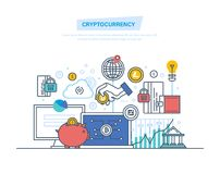 Cryptocurrency, modern system of money turnover, safe transactions, bitcoins. Crypto currency, cryptography, blockchain, payment currency for performing Royalty Free Stock Photography