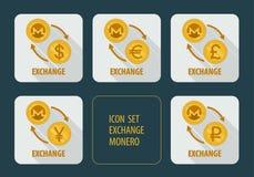 Cryptocurrency Monero d'échange pour différentes devises Images stock