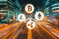 Cryptocurrency with motion blurred traffic. Cryptocurrency with view of motion blurred traffic royalty free stock images