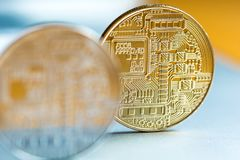 Cryptocurrency mynt Royaltyfria Bilder