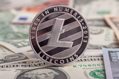 Cryptocurrency mynt Litycoin på euro- och dollarsedlarna Slut upp med den selektiva fokusen Royaltyfri Bild
