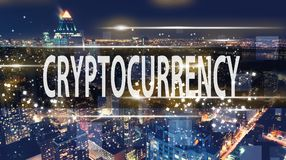 Cryptocurrency with the New York City skyline Royalty Free Stock Photo