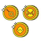 Cryptocurrency noircissent le monero d'icônes d'or d'ensemble, vagues, siacoin Photographie stock