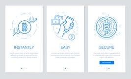 Cryptocurrency och Blockchain begrepp som onboarding app-skärmar Den moderna och förenklade vektorillustrationwalkthroughen avskä Royaltyfri Foto