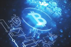 Cryptocurrency och e-kommers bakgrund royaltyfri illustrationer