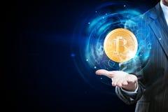 Cryptocurrency och e-kommers begrepp Arkivbilder