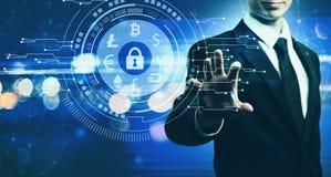 Cryptocurrency ochrony temat z biznesmenem na błękita światła bac ilustracja wektor