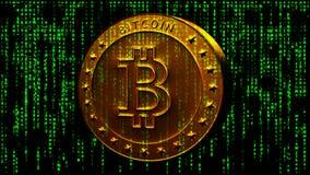 Cryptocurrency op matrijsachtergrond stock afbeeldingen