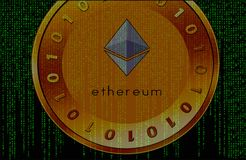 Cryptocurrency op matrijsachtergrond stock fotografie