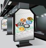 Cryptocurrency på en affischtavla, hållplatser Arkivfoton