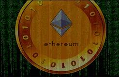 Cryptocurrency på matrisbakgrund arkivbild
