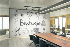 Cryptocurrency and payment concept. Modern meeting room interior with creative blockchain sketch on whiteboard. Cryptocurrency and payment concept. 3D Rendering Royalty Free Stock Images