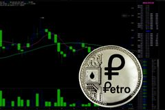 Cryptocurrency Petro da moeda foto de stock