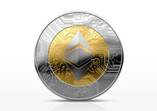 Cryptocurrency Physical Coin. A physical ethereum classic cryptocurrency in gold and silver coin form on a dark studio background- 3D render Stock Photos