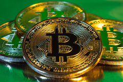Cryptocurrency physical golden bitcoin coin on colorful backgrou Stock Photography