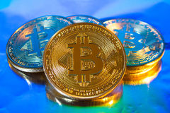 Cryptocurrency physical golden bitcoin coin on colorful background Stock Image