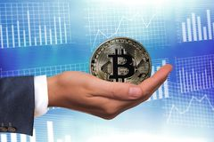 Virtual Coins Bitcoins On Blue Graphic Background Royalty Free Stock Image