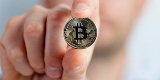Virtual Coins Bitcoins with Man on Background Stock Images