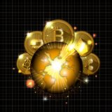 Cryptocurrency in the planet icons. Vector illustration design Royalty Free Stock Photo
