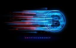 Cryptocurrency pojęcie Wektorowa technologii ilustracja Neonowego światła znak z z neonowymi liniami, geometryczne postacie Fotografia Stock