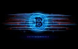 Cryptocurrency pojęcie Wektorowa technologii ilustracja Neonowego światła znak z z neonowymi liniami, geometryczne postacie Zdjęcie Stock