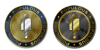 Cryptocurrency POPULOUS coin royalty free illustration