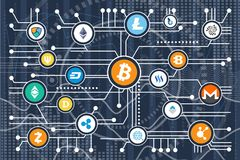 Cryptocurrency Poster Icons on Vector Illustration. Cryptocurrency poster representing lots of icons of different currencies and symbols, connected together with Stock Image