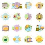 Cryptocurrency proces i kopalnictwo set Płaska wektorowa ilustracyjna kolekcja w crypto temacie Crypto walut etykietki Fotografia Stock