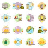 Cryptocurrency process and mining set. Flat vector illustration collection in crypto theme. Crypto currency labels vector illustration