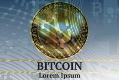 Cryptocurrency réaliste de bitcoin de vecteur de Digital Fond virtuel abstrait de style illustration stock