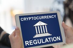 Cryptocurrency regulation concept on a tablet. Tablet screen displaying a cryptocurrency regulation concept royalty free stock photos
