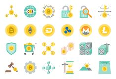 Cryptocurrency related icon set. Flat design Stock Photo